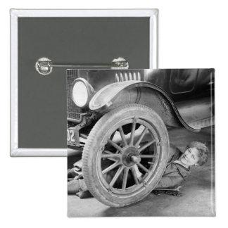 1920s Woman Car Mechanic 2 Inch Square Button