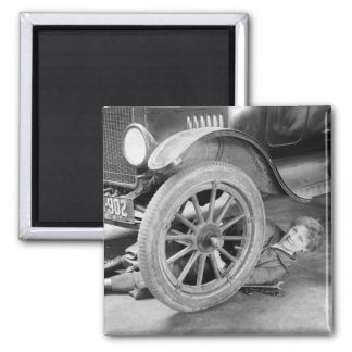 1920s Woman Car Mechanic 2 Inch Square Magnet