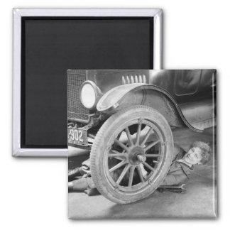 1920s Woman Car Mechanic 2 Inch Square Magnet