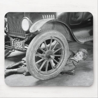 1920s Woman Car Mechanic Mouse Pad