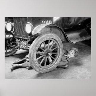 1920s Woman Car Mechanic Poster