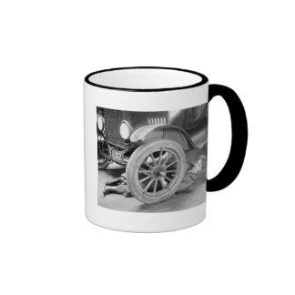 1920s Woman Car Mechanic Ringer Mug