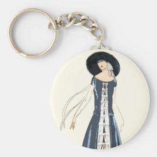 1920s Women's Fashion Dress and Hat Basic Round Button Keychain
