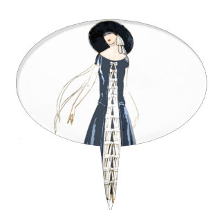 1920s Women's Fashion Dress and Hat Cake Topper