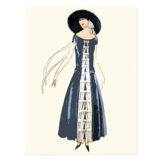 1920s Women's Fashion Dress and Hat Postcard