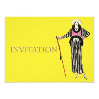 1920's Womens Fashion Illustration 5.5x7.5 Paper Invitation Card