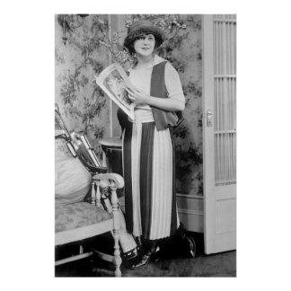 1920s Women's Golf Fashion Poster