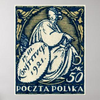 1921 50mc Polish Postage Stamp Poster