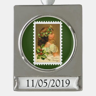 1921 Cancelled Stamp Holly Girl Ornament