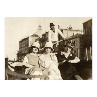 "1921 Girlfriends in Venice 5"" X 7"" Invitation Card"