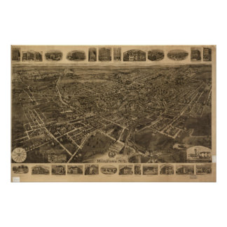 1921 Middletown, NY Birds Eye View Panoramic Map Poster