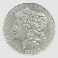 1921 Morgan Silver Dollar Sticker