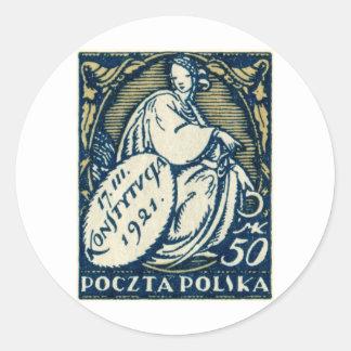 1921 Polish 50m Postage Stamp Classic Round Sticker