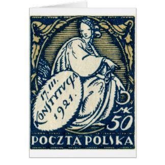 1921 Polish 50m Postage Stamp Greeting Card