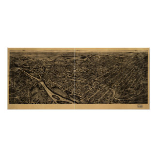 1922 Allentown, PA Birds Eye View Panoramic Map Poster