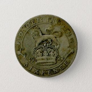 1922 British sixpence button
