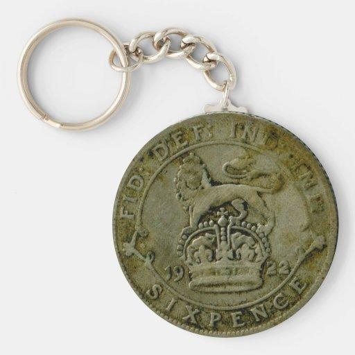 1922 British sixpence keychain
