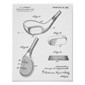 1922 Golf Club Head Design Patent Art Print