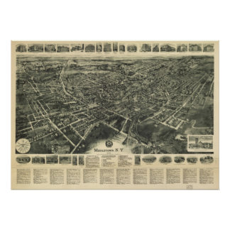 1922 Middletown, NY Birds Eye View Panoramic Map Poster