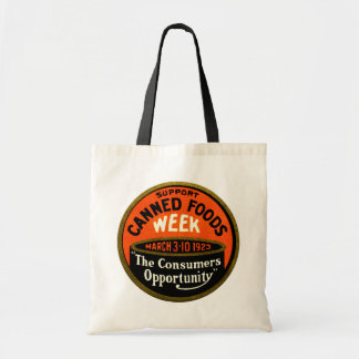 1923 Canned Foods Week Budget Tote Bag