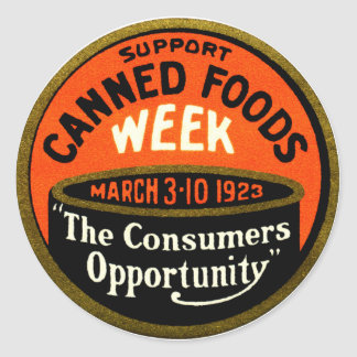 1923 Canned Foods Week Classic Round Sticker