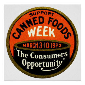 1923 Canned Foods Week Poster