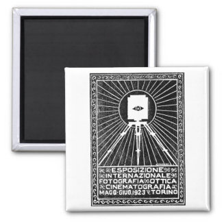 1923 Turin Photo Expo Poster 2 Inch Square Magnet