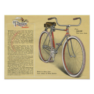 1923 Vintage Ranger Roadster Bicycle Ad Art Poster