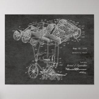 1924 Bicycle Airplane Patent Art Drawing Print