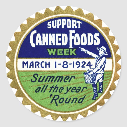 1924 Canned Foods Week Classic Round Sticker