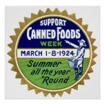 1924 Canned Foods Week Poster
