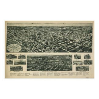 1924 Valley Stream NY Birds Eye View Panoramic Map Poster