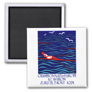 1924 Zurich Rowing Poster 2 Inch Square Magnet
