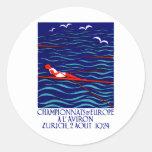 1924 Zurich Rowing Poster Classic Round Sticker