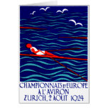 1924 Zurich Rowing Poster Greeting Card