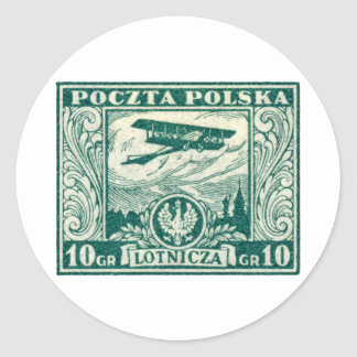 1925 10gr Polish Airmail Stamp Classic Round Sticker