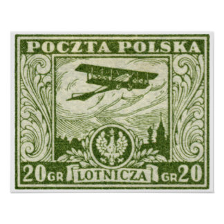 1925 20gr Polish Airmail Stamp Poster