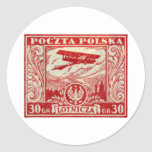 1925 30gr Polish Airmail Stamp Classic Round Sticker