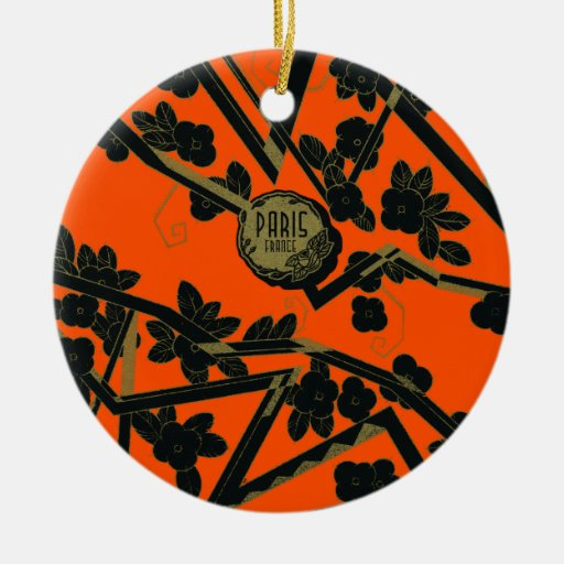 1925 Art Deco Paris France perfume Double-Sided Ceramic Round Christmas Ornament