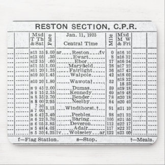 1925 CPR Reston Section timetable Mouse Pad