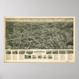 1925 Farmingdale, mapa panorámico de la opinión de Póster