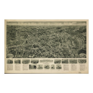 1925 Farmingdale NY Birds Eye View Panoramic Map Posters