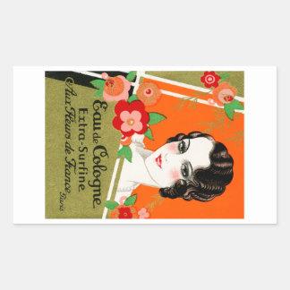 1925 flores de perfume de Francia Pegatina Rectangular