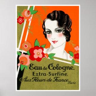 1925 flores de perfume de París Francia Poster