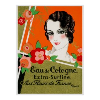 1925 Flowers of Paris France Perfume Poster