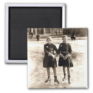 1925 Girlfriends Ice Skating 2 Inch Square Magnet