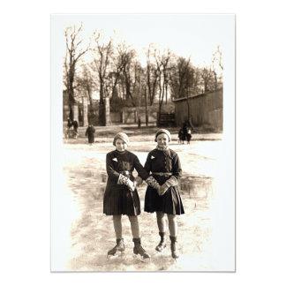 "1925 Girlfriends Ice Skating 5"" X 7"" Invitation Card"