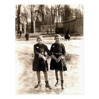 1925 Girlfriends Ice Skating Postcard