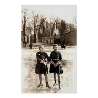 1925 Girlfriends Ice Skating Poster