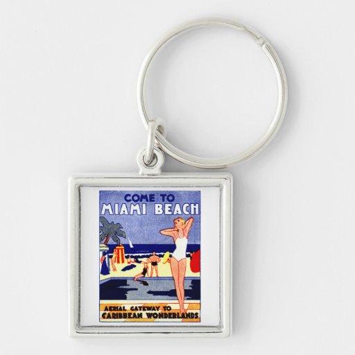 1925 Miami Beach Travel Poster Silver-Colored Square Keychain